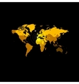 Orange color world map on black background Globe vector image vector image