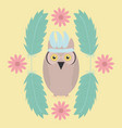 owl bird with feathers hat and flowers frame vector image