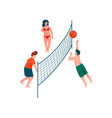people playing volleyball on beach young men and vector image vector image