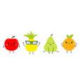pineapple apple pear orange fruit icon set line vector image