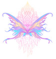 rainbow colors butterfly over sacred geometry sign vector image vector image