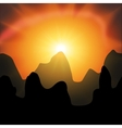 red sunset in the mountains on a black background vector image vector image