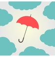 red umbrella surrounded by clouds vector image vector image