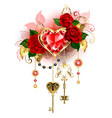 ruheart with roses vector image vector image