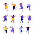 set flat people dancing at club or music vector image