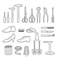 set of shoes repair tools and shoes accessories vector image