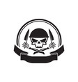skull army chef emblem logo hold knife vector image