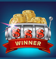 slot machine banner win jackpot in game vector image vector image