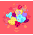 Textured Hearts with 3D effect and arrow on pink vector image