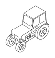 Tractor icon in outline style isolated on white vector image vector image