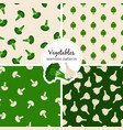 vegetable seamless patterns set vector image