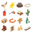 Wild west cowboy isometric 3d icons vector image vector image