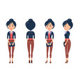 woman constructor girl side front and back view vector image vector image