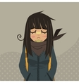 Cartoon sad girl mascot vector image