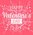 valentines day pink postcard with hearts and vector image