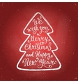 Merry Christmas lettering chalk on red background vector image