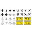 aircraft or airplane icons and sign set vector image