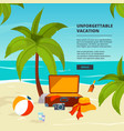 background with suitcases travel in vector image