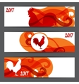 banners with rooster symbol 2017 chinese vector image vector image