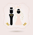 black and golden abstract bride and groom symbol vector image vector image