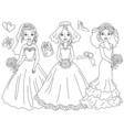 Black and White Brides Set vector image vector image