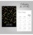 Black two-sided calendar 2016 with roses vector image