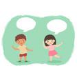 boy girl talking cartoon vector image vector image