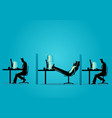 businessman relaxing while his friends working vector image