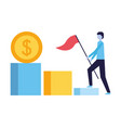 businessman with flag climbing stairs money vector image vector image