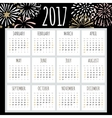Calendar 2017 with hand drawn fireworks Simple vector image