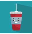 cartoon cup plastic soda with straw vector image