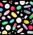 cartoon pills and tablets pattern vector image vector image