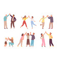 characters give five to each other set people vector image