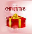 christmas card with gift box red vector image vector image