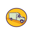 Closed Delivery Van Woodcut vector image vector image
