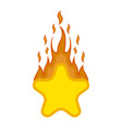 comic star shape on fire icon vector image vector image
