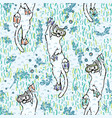 cute aqua cartoon diving cats pattern vector image