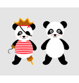 Cute panda pirate standing with hat and hook vector image vector image