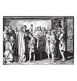 david is anointed king by samuel vintage vector image vector image