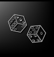dices sign gray 3d printed icon on black vector image