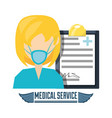 doctor with mask and diagnostic prescription vector image
