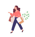 funny woman carrying bags with purchases concept vector image vector image