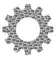 gearwheel collage of exit arrow icons vector image vector image