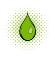Green water drop comics icon vector image vector image