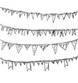 hand drawn doodle bunting flags set vector image vector image