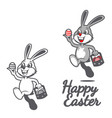happy easter bunny holding easter egg symbol vector image