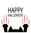 happy halloween cartoon black cat paw print head vector image vector image