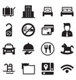 icons for hostels and hotels set silhouette vector image vector image