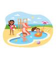 little happy kids are having fun in aquapark vector image vector image