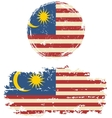 malaysian round and square grunge flags vector image vector image